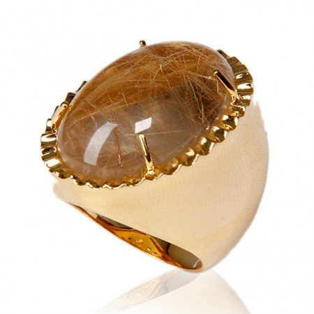 Brinco Semijoia com Pedra Natural Oval Cravejado de Zircônias BR5465