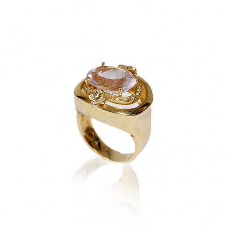 Brinco Semijoia Com Pedra Oval Natural Cravejado de Zircônias BR5017