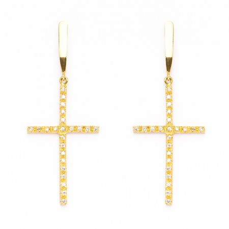 Brinco Semijoia Crucifixo  Cravejado de Zircônias BR5703