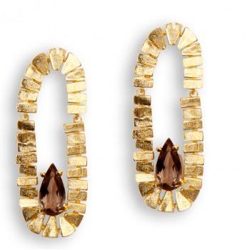 Brinco Semijoia com Pedra Natural em Gota BR5483