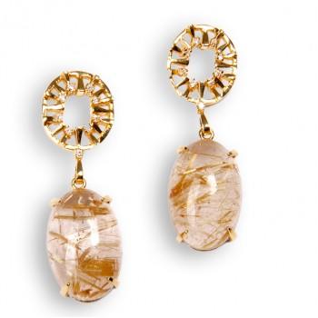 Brinco Semijoia com Pedra Natural Oval Cravejado de Zircônias BR5504