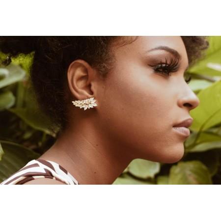 Brinco Semijoia  Ear Cuff 18 com Pedras Naturais Navete BR5785