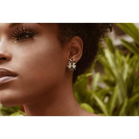 Brinco Semijoia  Ear Cuff 24 com Pedras Naturais Navete BR5788