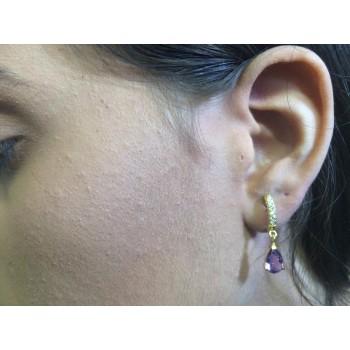 Brinco Semijoia Lua ou Argolinha com Pedra Natural em Gota  BR5762/3