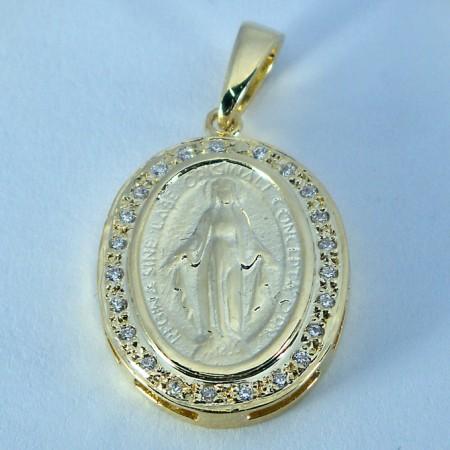 Pingente Semijoia Nossa Senhora das Graças Cravejado com Zirconias  PG5608