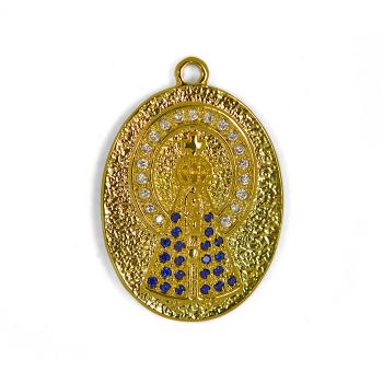 Pingente Semijoia Nossa Senhora Aparecida com Ave Maria Cravejado de Zirconias PG5638