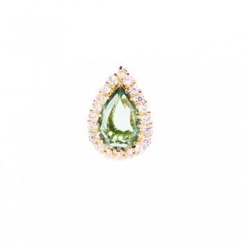 Pingente Semijoia Ear Cuff com Pedra Natural em Gota Cravejado com Zirconias PG5728
