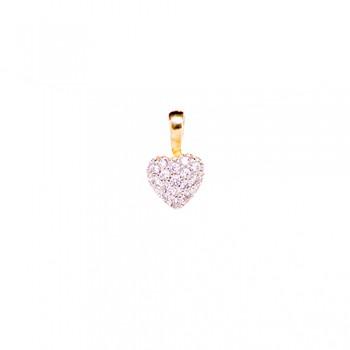Pingente Semijoia Coração Cravejado com Zirconias PG5762